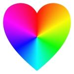 Rainbow gradient happy heart icon template