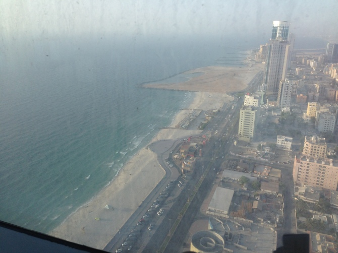 More than 40 floors up, the Gulf winks